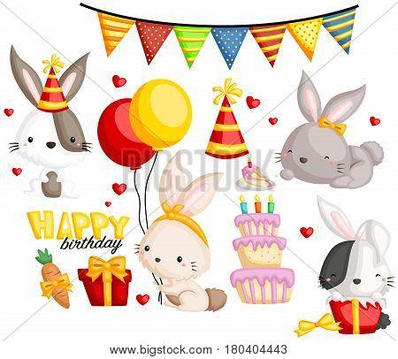 Birthday Bunny vector set with many items