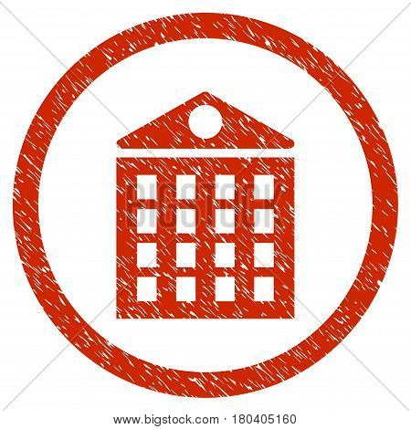 Multi-Storey House grainy textured icon inside circle for overlay watermark stamps. Flat symbol with dirty texture. Circled vector red rubber seal stamp with grunge design.