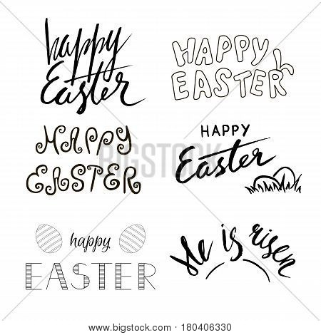 Happy Easter, He is Risen. Hand written calligraphy. Easter theme. Hand drawn text. Vector illustration.