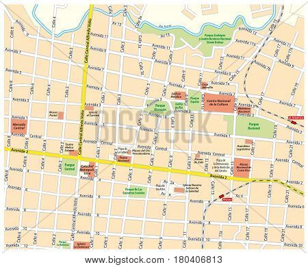 City map of downtown San Jose, Costa Rica