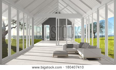 Minimalist Living Room With Big Windows, Stained Glass And Terrace On Garden Sea Ocean Panorama, Arc