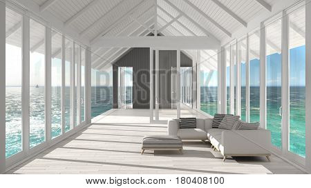 Minimalist living room with big windows stained glass and terrace on sea ocean panorama ship interior design, 3d illustration