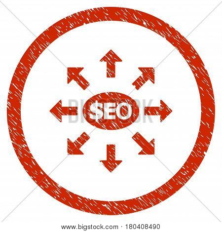 Seo Marketing grainy textured icon inside circle for overlay watermark stamps. Flat symbol with unclean texture. Circled vector red rubber seal stamp with grunge design.
