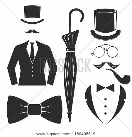 Vintage style design hipster gentleman symbol vector illustration antique graphic design retro element. Premium quality man shop classic fashion moustache club barber sign black silhouette.