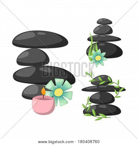 Pyramid from sea pebble relax heap stones isolated and healthy wellness black massage meditation natural tool spa balance therapy zen vector illustration. Natural asian care peace alternative.