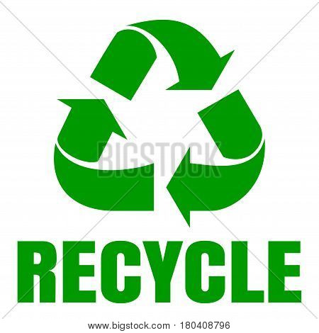 Recycle green simbol. Sign of recycling. Logo icon. Waste recycling. Environmental protection. Vector illustration isolated on white background