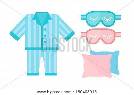 Sleep time pajamas icon flat isolated vector illustration. Sleep icon sweat dream. Night rest human pyjamas, blindfold, sleepwear icon