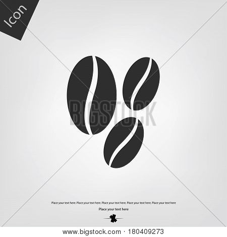 Coffe seed vector icon, gray background. Vector illustration.