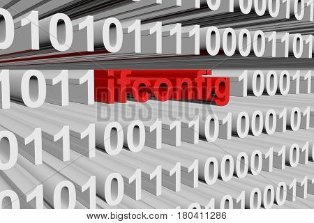 ifconfig in the form of binary code, 3D illustration