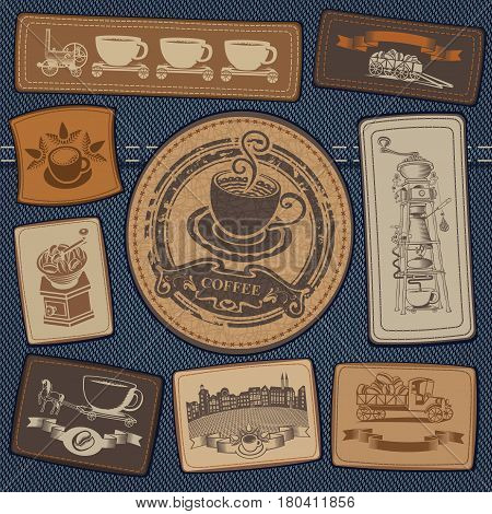 vector set of labels for jeans with pictures on the topic of coffee on a background of denim