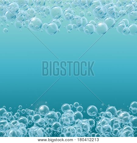 Square frame of realistic water bubbles with place for text. Shampoo or soup foam lines. Deep sea with bubbles and sprays underwater. Good for greeting card design, banner, flyer, party invitation.