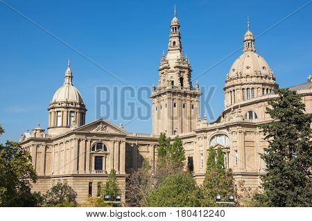 BARCELONA, SPAIN - OCTOBER 23, 2015: The National Palace was the main site of the 1929 International Exhibition on the hill of Montjuic in Barcelona. Since 1934 it has been home to the National Art Museum of Catalonia Spain