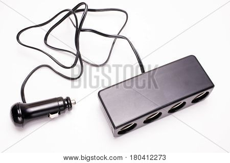 Car cigar socket power distributor on a white background
