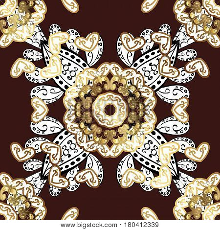 Golden pattern on brown background with golden elements. Seamless damask classic white and golden pattern. Vector abstract background with repeating elements.