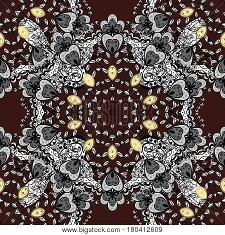 Damask background. Golden floral sketch. Golden element on brown background. Gold brown floral ornament in baroque style. Seamless pattern.
