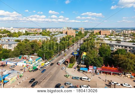 Samara Russia - September 4 2016: Panoramic view from height on the city bird view