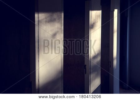 Greyscale of restrooms stall abstract background