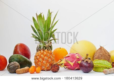 Exotic Fruits Isolated On White Background. Healthy Eating Dieting Food. Pitahaya, Carambola, Papaya