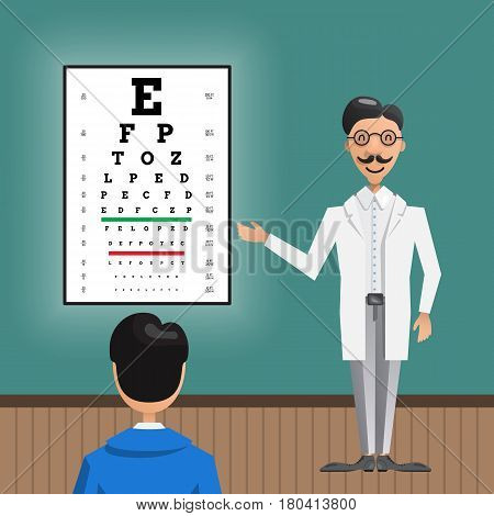 Male eye doctor, ophthalmologist cartoon character testing and counseling of patients your office, clinic. Vector illustration drawn in a flat style