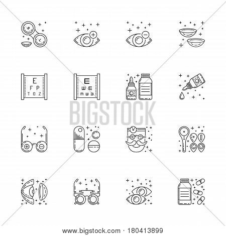 Vector icons in linear style on the subject of ophthalmology relating to diseases and eye health treatment and testing. The selection of glasses and contact lenses for patients