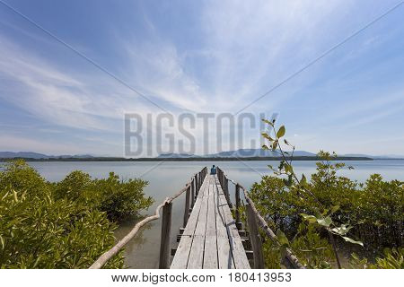 man sitting relaxed on a pier staring at the sea in sunny good weather day