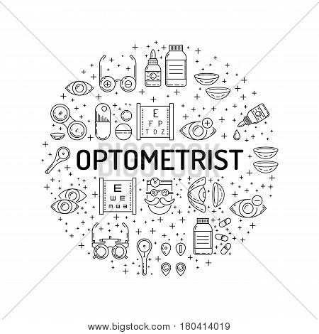 Round banner outline style on the subject of ophthalmology relating to diseases and eye health treatment and testing. The selection of glasses and contact lenses for patients