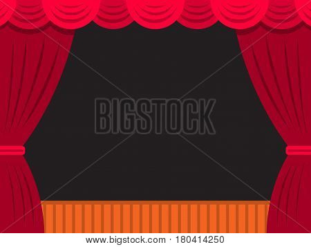 Vector theater stage with red curtain and an empty stage and a dark background for placement of actors, objects, or text