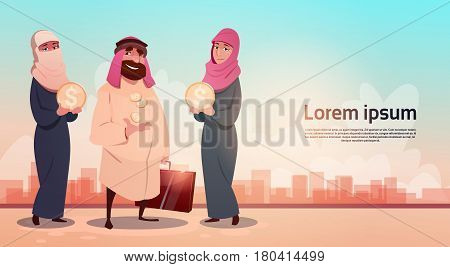 Rich Arab Businessman With Wife Oil Extraction Business Success Flat Vector Illustration