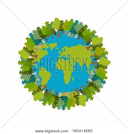 Trees And Earth. Planet And Forest. Earthly Nature. Earth Day International Nature Festival