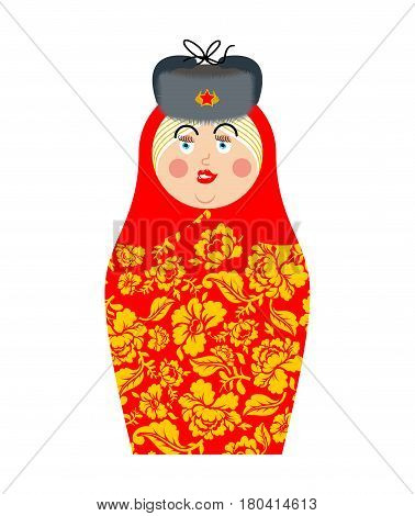 Matryoshka Russian folk doll. National toy. traditional toys in Russia. Khokhloma painting