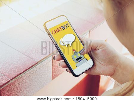 Woman Uses His Mobile Phone With Chatting.