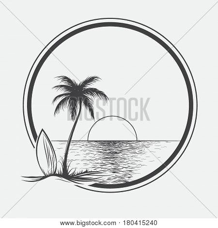 palm beach illustration on summer sea.Seascape graphic vector illustration