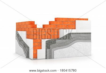Walls insulation of buildings. Thermal insulation. 3d illustration