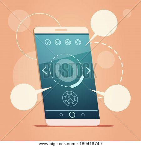 Modern Cell Smart Phone With Chat Bubble Message Sms Communication Vector Illustration