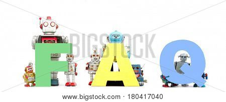 the  abbreviation,  FAQ held by retro robots