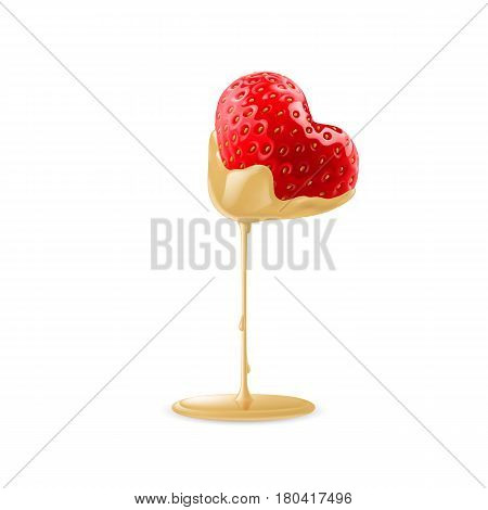 Strawberry in Heart Shape Dipped in White Chocolate Fondue