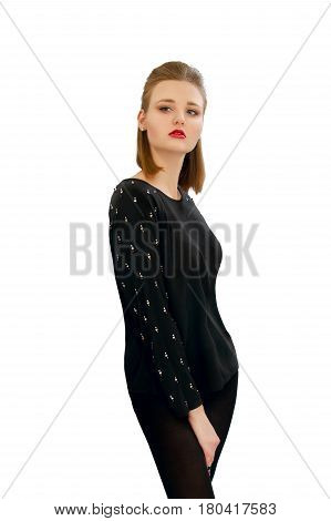 Beautiful Young Girl In A Black Blouse