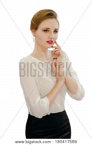 Beautiful Young Girl In A White Blouse And Black Skirt
