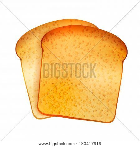 Couple of bright realistic tasty toasts isolated on white