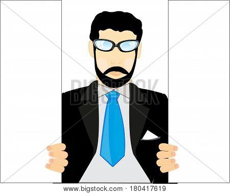 Man with beard and in suit in opened door
