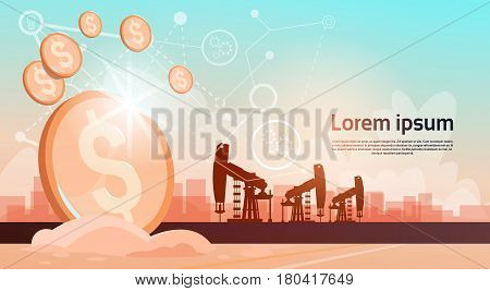 Pumpjack Oil Rig Crane Platform Black Wealth Concept Flat Vector Illustration