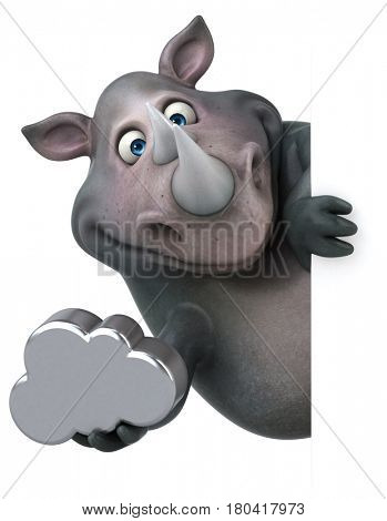 Fun rhinoceros - 3D Illustration