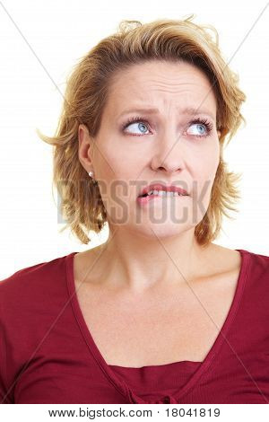 Woman Biting On Her Lip
