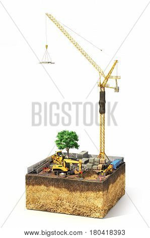 Construction concept. Construction site with construction machinery materials and tower crane on the piece of ground. 3d illustration