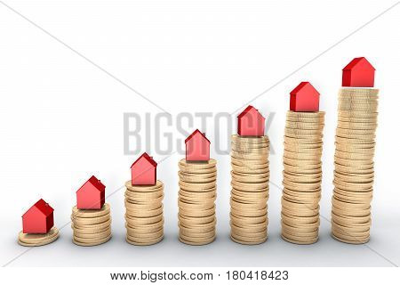 3d image: high quality rendering: Mortgage concept. Red houses on stacks of  golden coins isolated on white background Metal copper  house graph chart stock market.