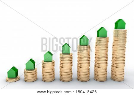 3d image: high quality rendering: Mortgage concept. Green houses on stacks of  golden coins isolated on white background Metal copper house graph chart stock market.