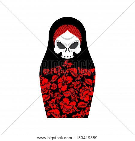 Matrioshka Skull. Russian Folk Doll Death. National Nested Doll Grim Reaper. Traditional Toy In Russ