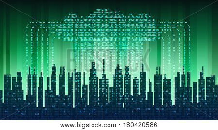 Binary rain in digital abstract city, the flow of data with the cloud, high-tech background, the concept of global networking technologies