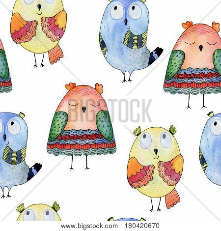 Watercolor funny illustration with owl. Hand drawn bird drawing. Seamless pattern