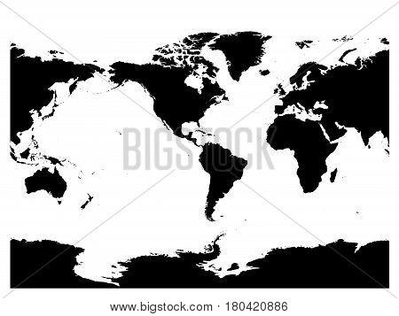 America centered world map. High detail black silhouette on white background. Vector illustration.